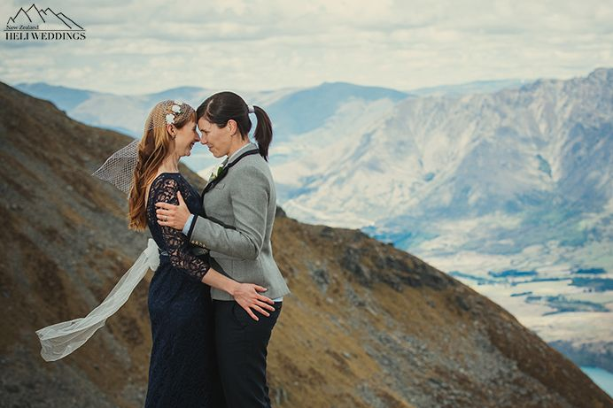 Same sex Wedding, photography and ceremony on Garden Spur, Queenstown. heli wedding
