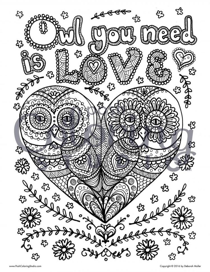Owl You Need Is Love Coloring Page