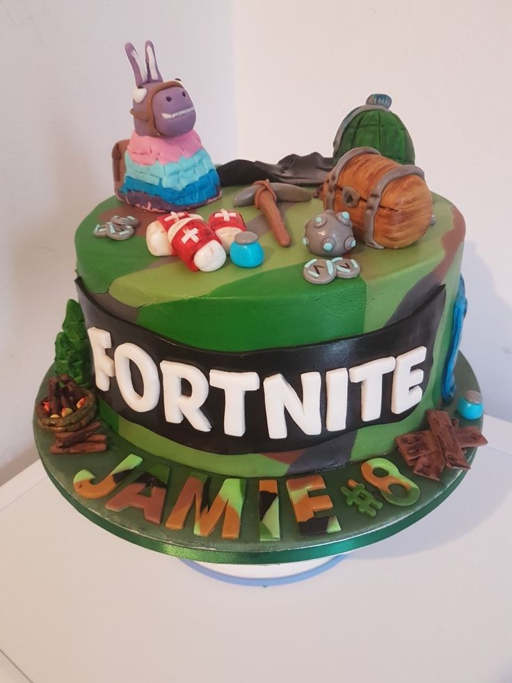 Fortnite Cake Camouflage Fondant Fortnite Birthday In
