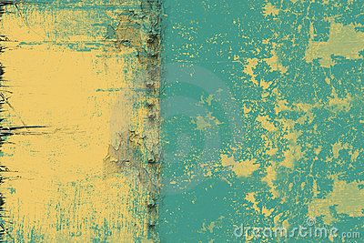 Yellow textured background with a shabby blue paint