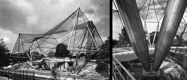 Snowdon Aviary, London Zoo, with close-up of the structural end shearlegs. © Architectural Press Archive / RIBA Library Photographs Collection