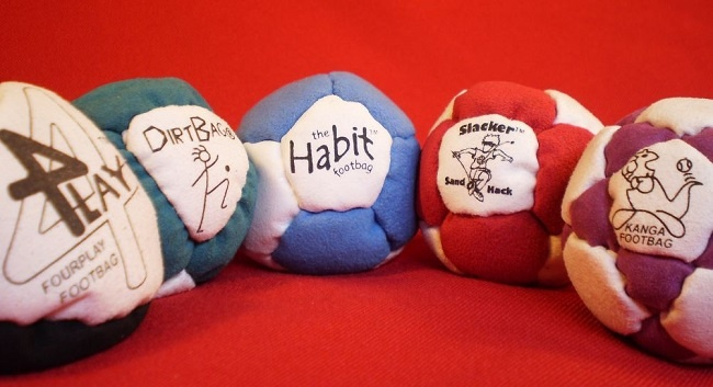 The Fab Five  FourPlay Footbag Dirtbag Footbag Habit Footbag Slacker Sandhack Kanga Footbag