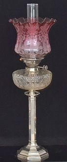 Edwardian hall marked lamp with Cranberry bowl