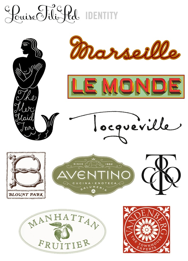 Louise Fili logos via lovecreativeblog.com