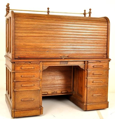 Details About Antique Wooton Wells Fargo Indianapolis Rotary Oak Roll Top Desk Circa 1880