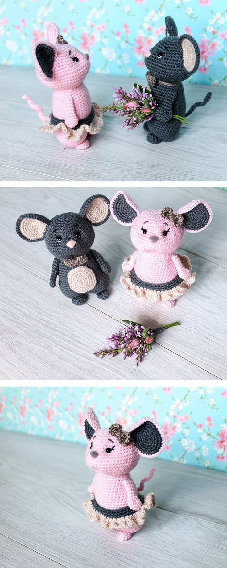 Crochet these mice using our free pattern. Make your day joyful with this sweet romantic mouse couple! It will be a cute gift, decoration or accessory for wedding or anniversary.