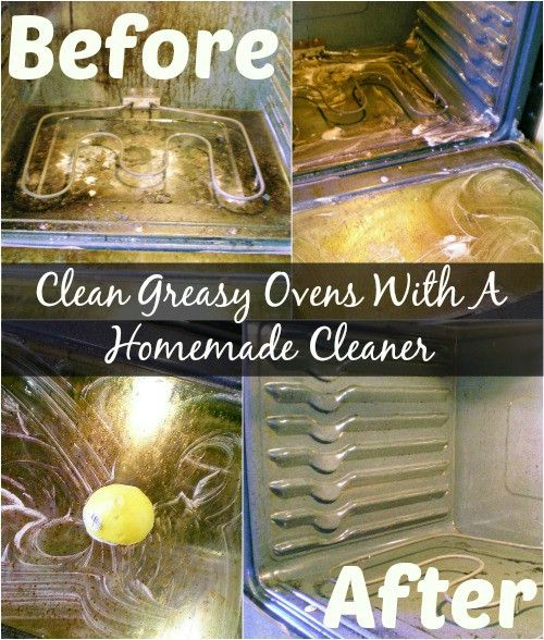 Clean Greasy Ovens With A Homemade Cleaner combine 5 tablespoons of baking soda, 4 tablespoons of white vinegar and 5 drops of Dawn dishwashing liquid in a bowl. The mixture should make a rather thick paste. Now take a sponge and spread the mixture over your oven. Leave it to sit for at least 15 minutes –