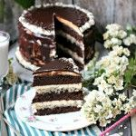 Chocolate Brownie Cake with Vanilla Mascarpone Butter Cream