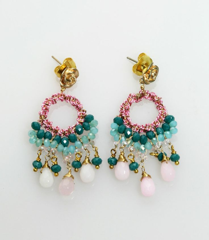 Elizabeth Wahyu Accessories        Made with light metal ornament, crystal beads,   #earrings #jewellery #accessories  #beaded #beads #handmade #bauble #tassel    www.elizabethwahyuaccesories.com