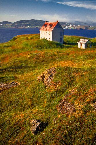 Deserted buildings in Trinity Bay, Newfoundland.