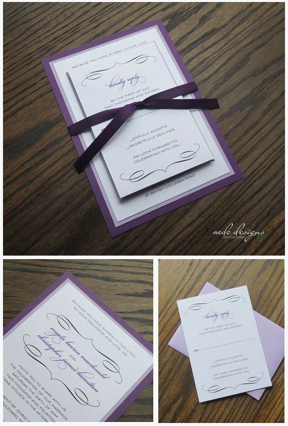 scroll wedding invite in purple and lavender