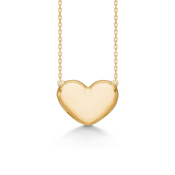 HEART halskæde i 8 karat guld.   Smuk og elegant hjertehalskæde i bløde, runde former, til et minimalistisk og romantisk look.   HEART halskæden er fra Mads Zieglers White Label kollektion.
