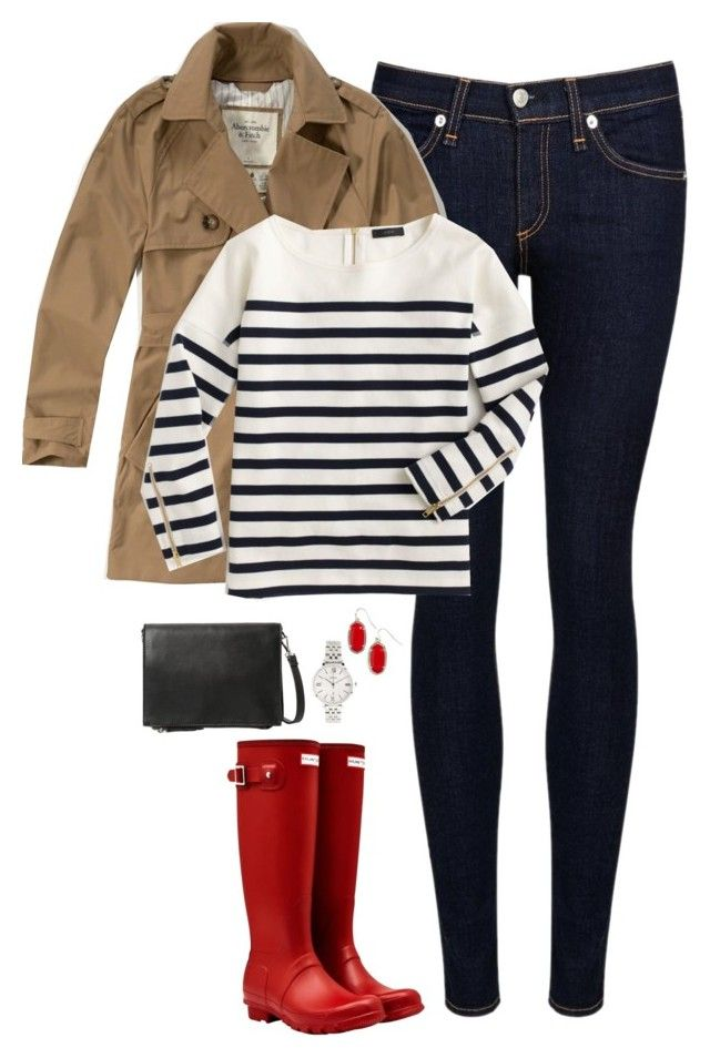 """""""Trench coat, stripes & red Hunter boots"""" by steffiestaffie ❤ liked on Polyvore featuring rag & bone/JEAN, Abercrombie & Fitch, Hunter, J.Crew, MANGO, FOSSIL, Kendra Scott, women's clothing, women and female"""