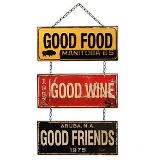 Placa de Metal - Good Food, Good Wine, Good Friends
