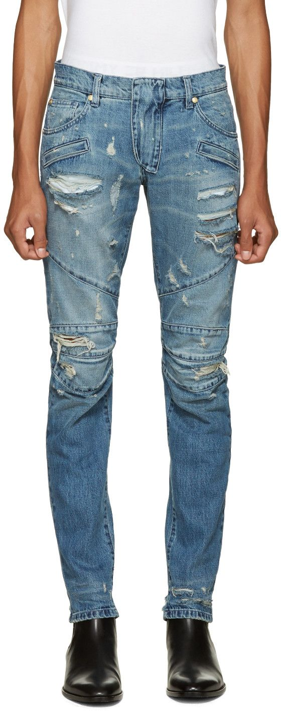 PIERRE BALMAIN Blue Distressed Biker Jeans. #pierrebalmain #cloth #jeans