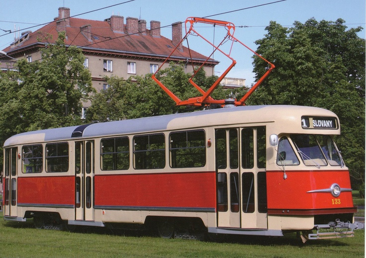 The red trams of Prague. The iconic Tatra T2 from the 50s....