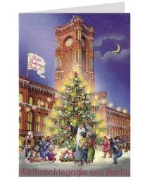 Rotes Rathaus Berlin Glittered Christmas Card ~ Germany