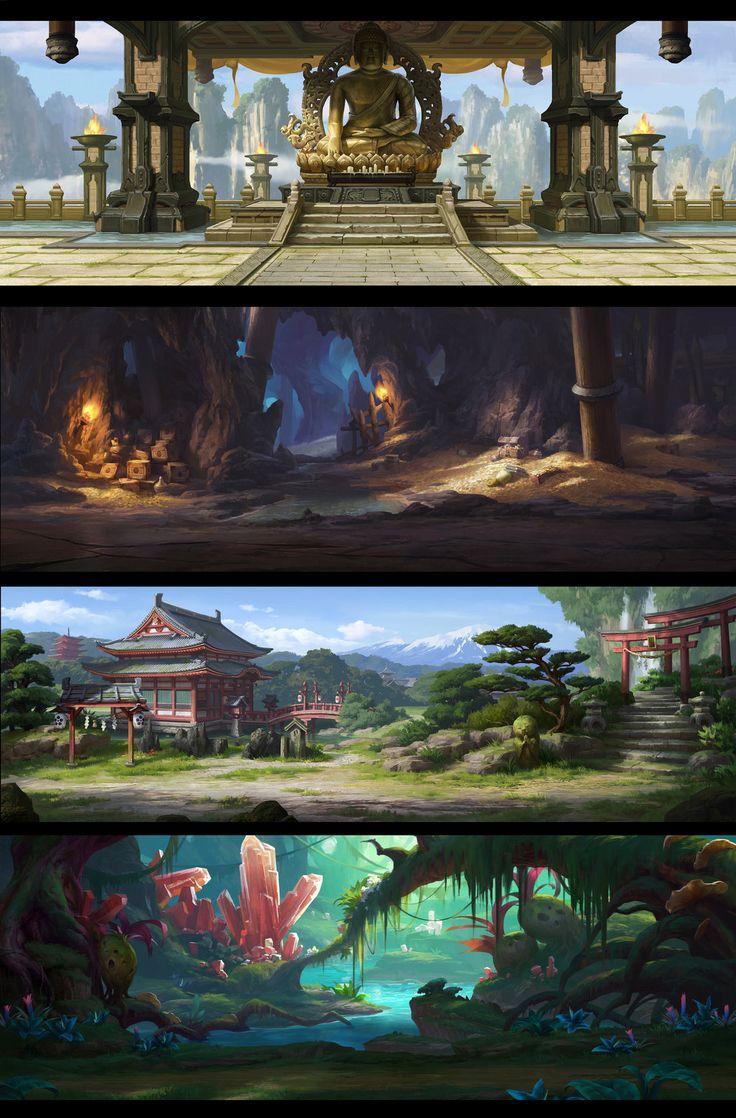 Four mobile game backgrounds by dawnpu.deviantart.com on @DeviantArt
