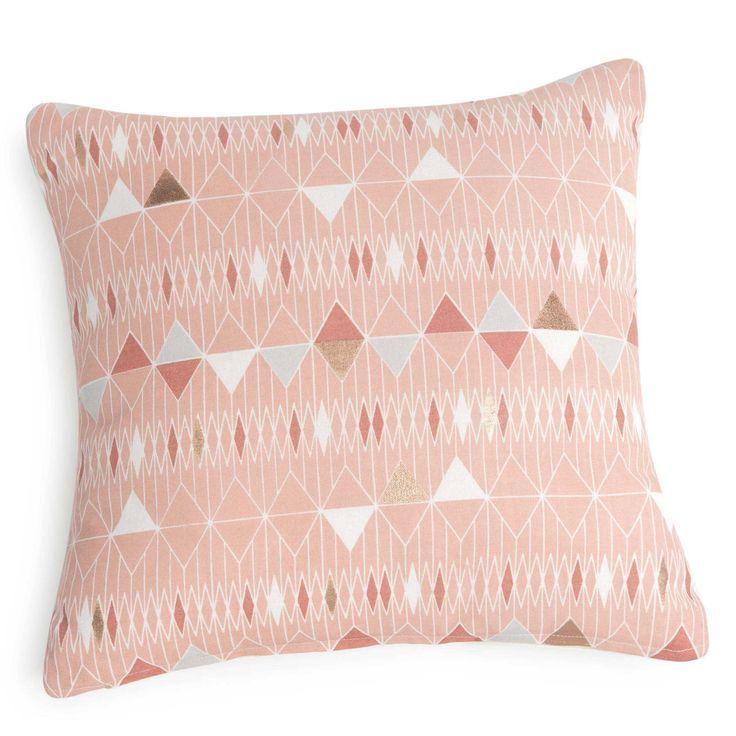 Kissenbezug aus rosa Baumwolle mit Dreiecksmotiv 40x40 cm JAVARI