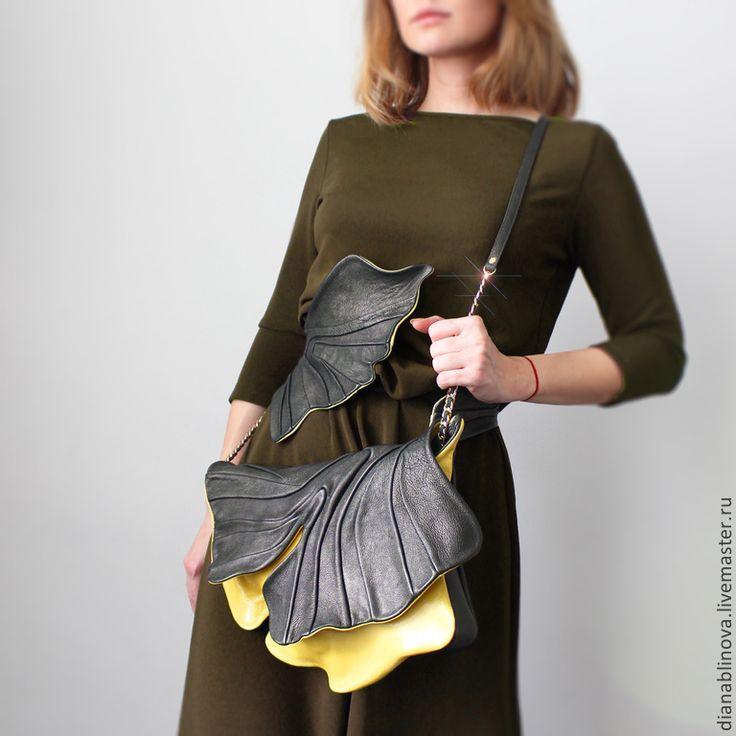 Купить Гингко - Красивая сумка, элегантная сумка, дизайнерская работа, авторская сумка, Кожаная сумка