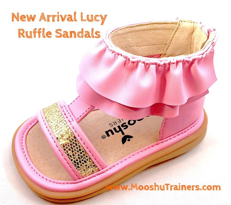 Lucy Ruffle Sandal is now available. Girls Toddler Squeaky Shoes. Girls meet Lucy. Lucy meet your new best friend! This oh so fancy Ruffle Sandal will make your heart smile! You'll be the talk of the town at your next tea party.