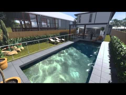 This 2 storey house is part of townhouse development in Brisbane.  Our client split a 800m2 housing block in half and has built two houses on the site.  This modern house design is has all the home features that customers demand and recently sold for almost $800,000.  There are 4 bedrooms + study/media, kids retreat, 2.5 bathrooms, double garage, alfresco dining, open plan living, swimming pool, kitchen with walk in pantry and a generous master bedroom.