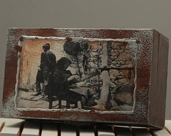 Vintage Wooden Plain Box Casket Storage Jewelry box Decoupage Craft 12,5X7cm. Vintage foto, hand made