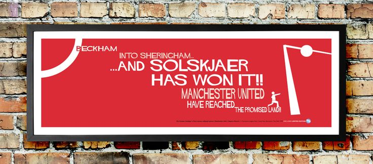 Solskjaer Champions League winner: Man Utd football print available from www.goalhangers.co.uk/shop includes FREE delivery in UK