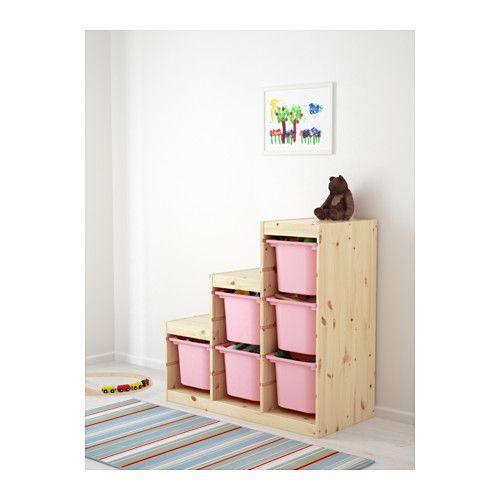 TROFAST Oppbevaringskombinasjon - furu/rosa - IKEA