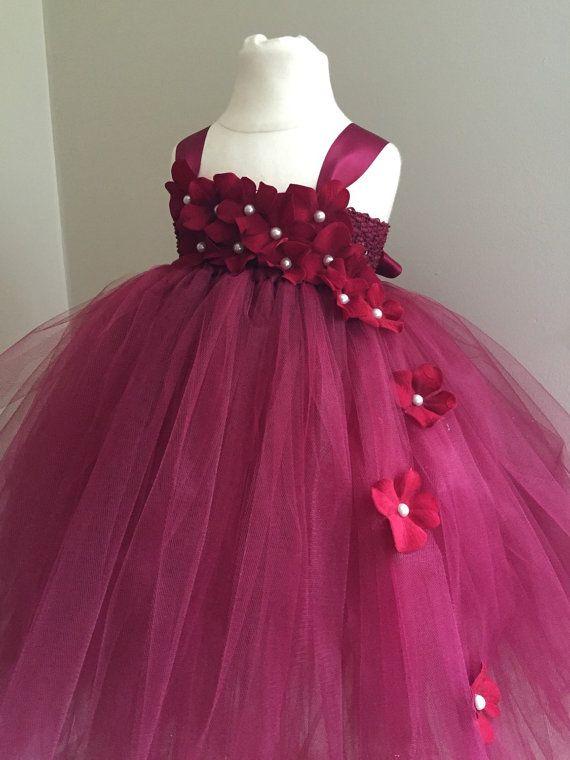 Burgundy hydrangea tulle flower girl dress girls by AnaBeanDesigns