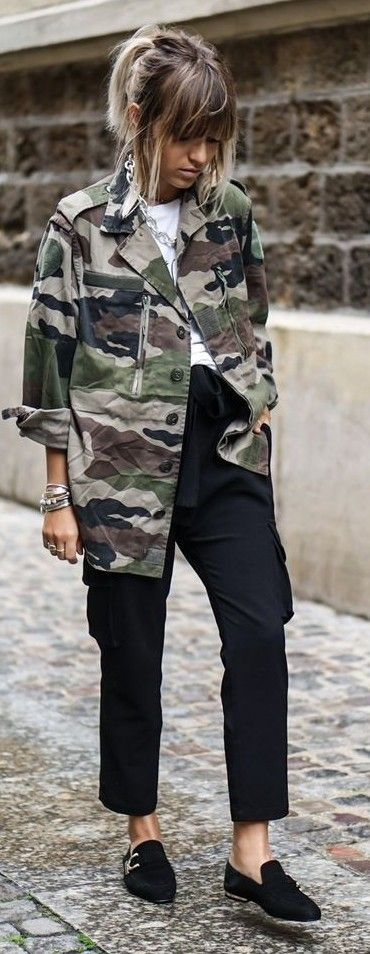 #spring #summer #outfitideas | Army Jacket + Black And White | Noholita