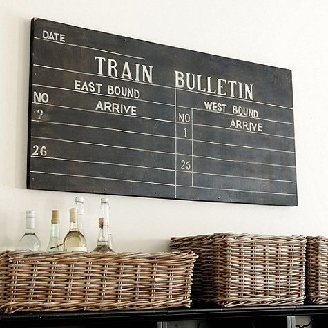 Train Schedule Sign - LOVE this vintage sign. Can't wait to get it.