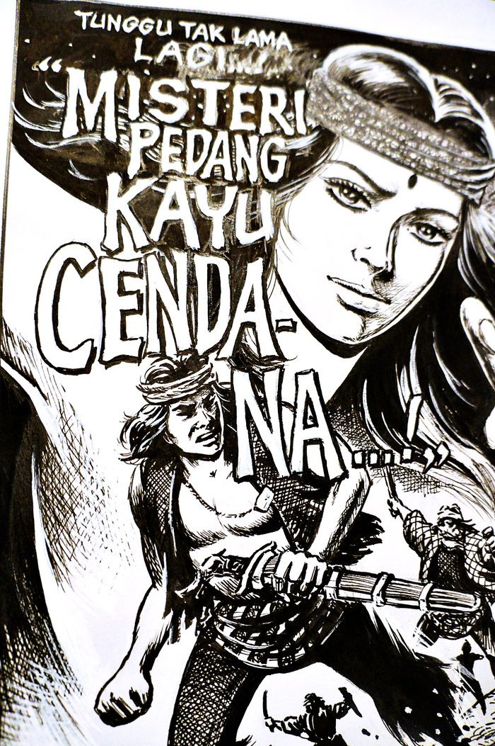 "Art cover: The comic cover of Kho Ping Hoo's work titled ""The Mystery of Sandalwood Sword."" (Photo by Raditya Margi)."