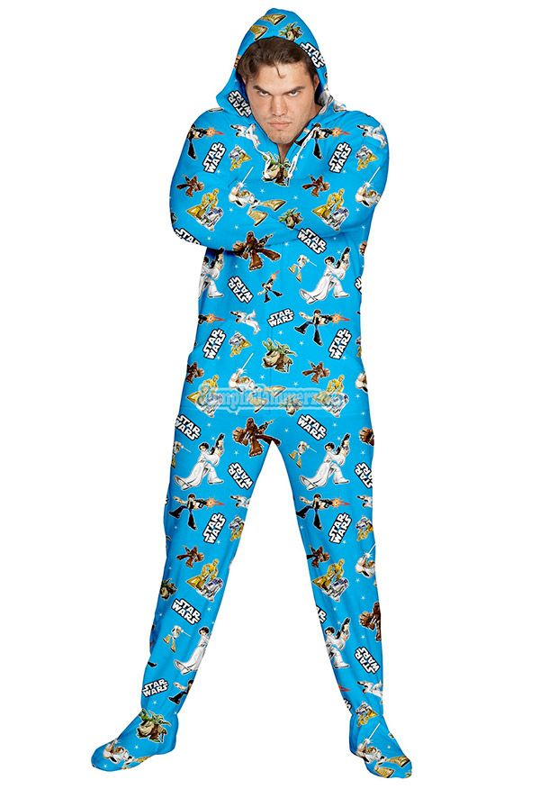 Star Wars even when you sleep...but footed pajamas on a man...nahhhh!!