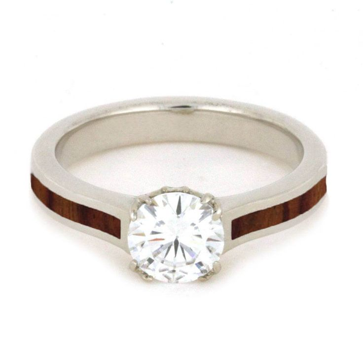 Moissanite Engagement Ring with Antler Prong, Wood Ring in White Gold-2502