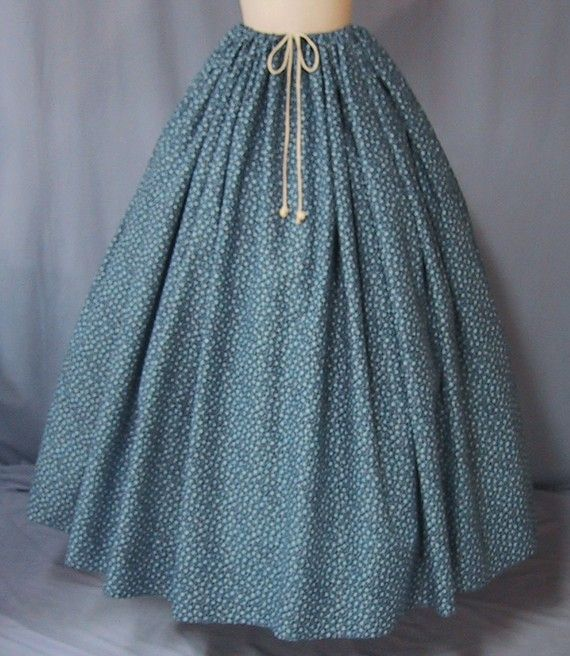 Navy Calico Long Skirt for Pioneer Costume by stitchintimedesigns