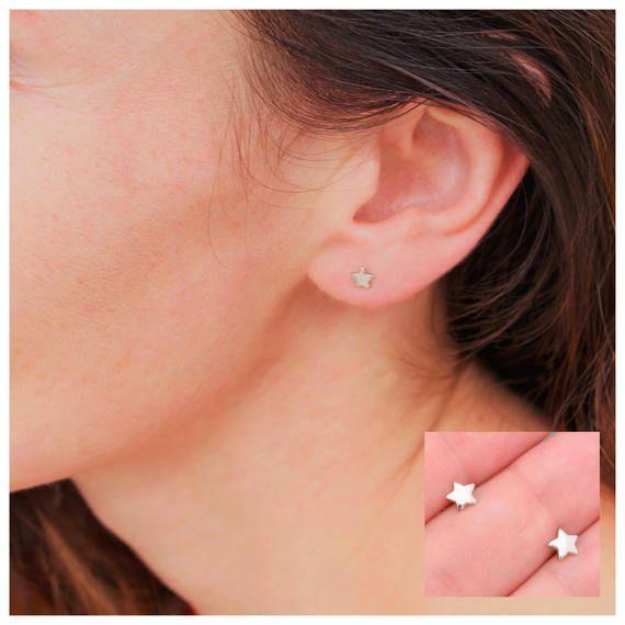 ab51f7b559dca Sterling Silver Tiny Star Stud Earrings, Small Dainty Star Earrings ...