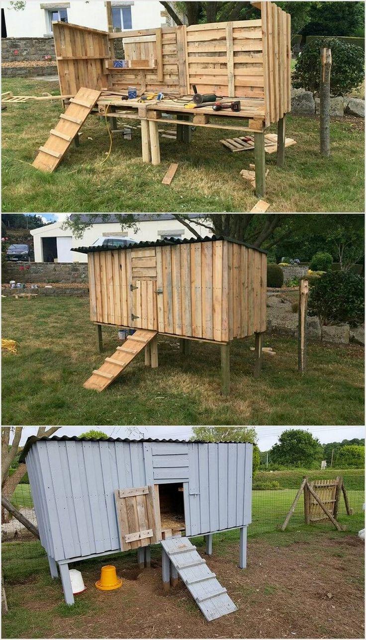 Hühnerstall aus Holzpaletten