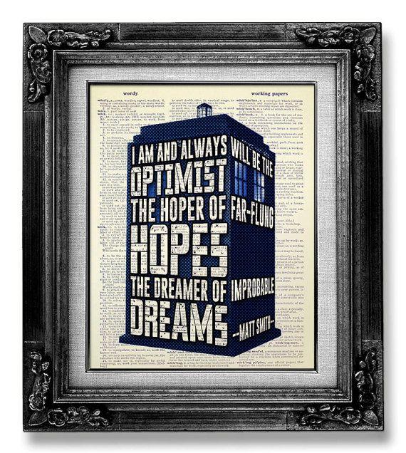 Doctor Who - DOCTOR WHO TARDIS Art - Dr Who Tardis Gift - Doctor Who Geekery - Matt Smith Optimist - Dr Who Art - Doctor Who Print -Geek Art on Etsy, $10.00