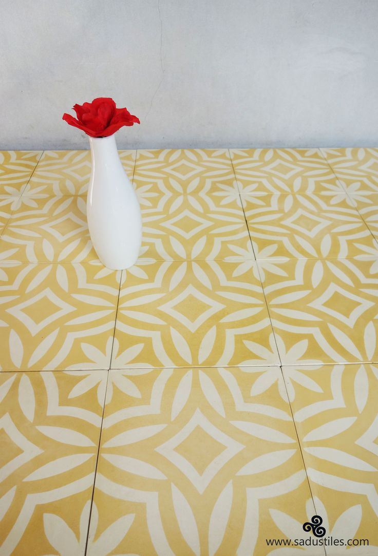 Sadus Tiles handmade cement tiles from Bali - Indonesia. Lovely design in mellow yellow