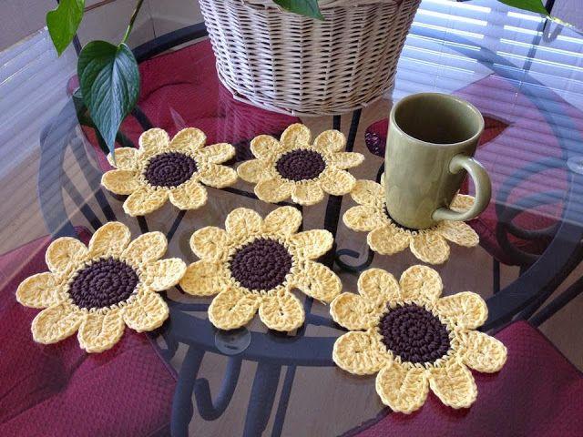 ergahandmade: Crochet Sunflower Coasters + Free Pattern