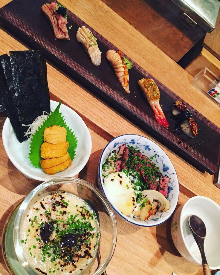 5 kinds of torched sushi: toro hotate hamachi salmon belly & ebi. TRUFFLE SEAFOOD CHAWANMUSHI. Japanese Wagyu with onsen egg over rice. UNI #sushijin #singapore #japanese #sushi #seaurchin #instafood #foodlover #truffle #oishi #goodfood by samandange