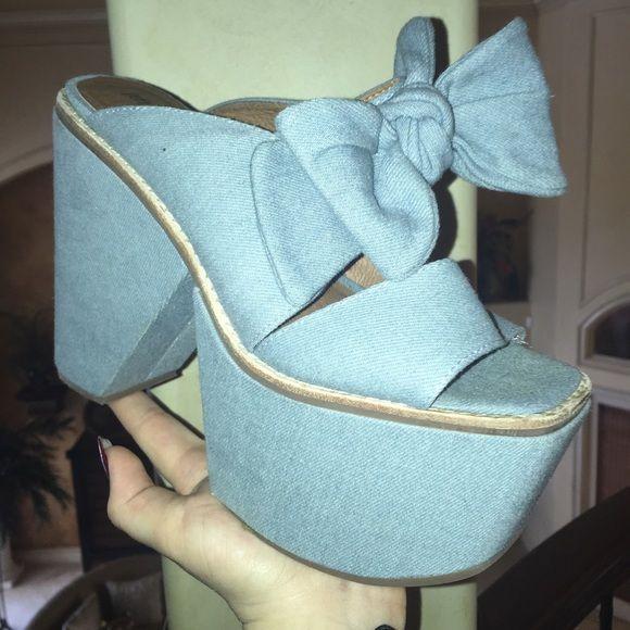 Jeffery Campbell Denim Heels Denim heels, worn once, great condition Jeffrey Campbell Shoes Heels