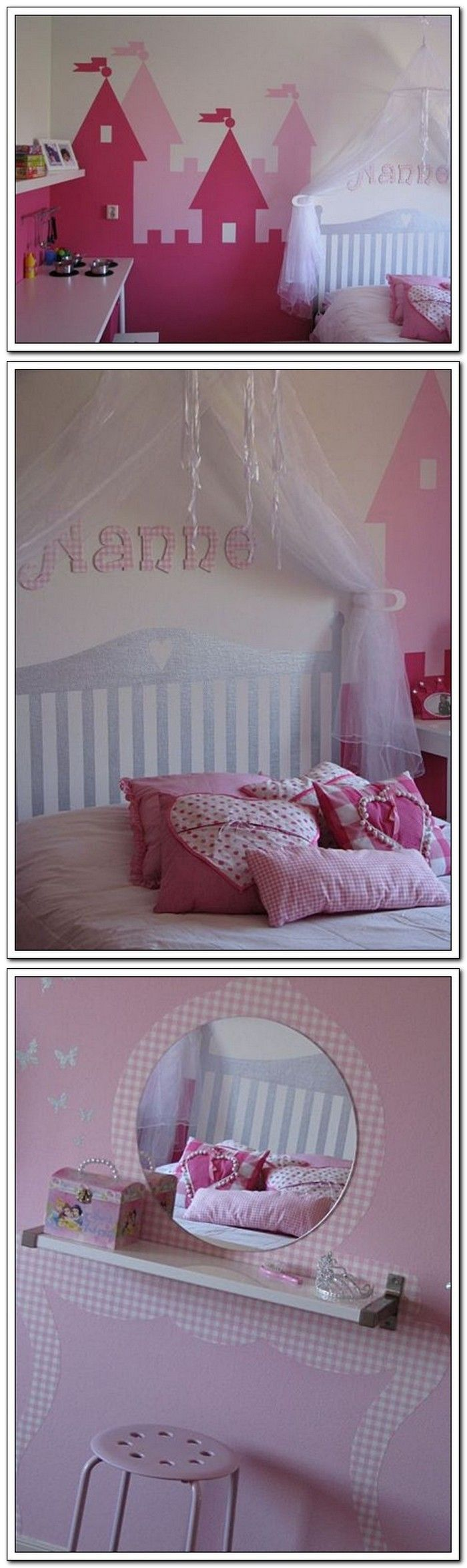 Princess Room. I love the idea of a platform bed and a painted headboard, but then it is hard to rearrange the room.