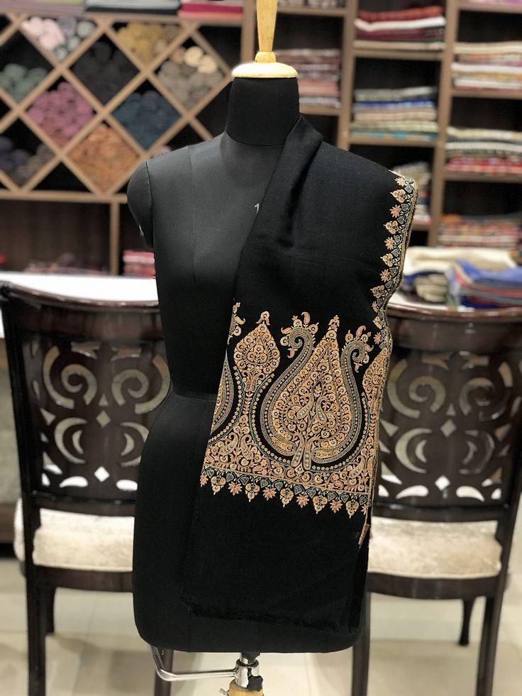 Pure Pashmina Shawl/Wrap, Hand Embroidery, Pure Cashmere Shawl, Cashmere Wrap, Sozni Hand Embroidery, Kashmiri Work, Sozni Work, Black Shawl by AngadCreations on Etsy #pure #pashmina #cashmere #hand #embroidered #sozni #needle #work #kashmiri #embroidery #natural #Kashmir #multi #colour #blk #black #shawl #stole #orni #india #wrap #scarf #indian #traditional #ethnic #wear #spade #design