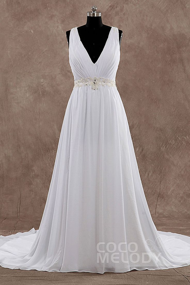 Pretty V-Neck Natural Train Chiffon Sleeveless Wedding Dress with Beading and Draped LD3521