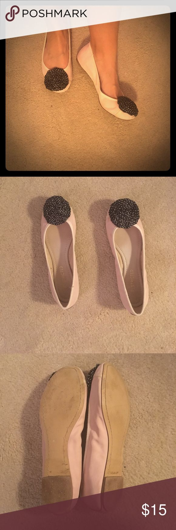 Restricted ballet flats Super cute light pink flats. Love the black roses with white polka dots. Nice wooden sole and padded inside. Hardly worn with a few light brown marks and water wrinkles on sides. Restricted Shoes Flats & Loafers