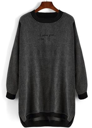 Letter Embroidered High Low Tshirt Dress - Shop for women's Shirt - Grey Shirt