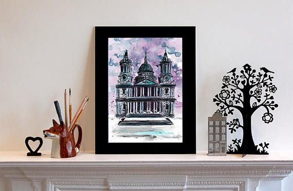 St Paul's Cathedral Illustration - dark and moody with a touch of Halloween! #art #painting #london #stpauls #history #beautiful