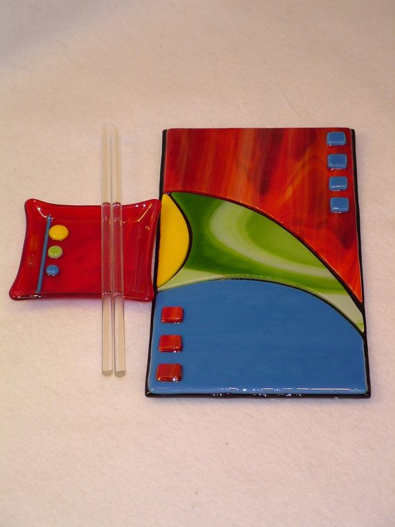 Mixed Colors  Fused Glass Plate  Sushi Set